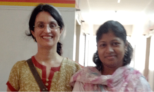 Foundation International Program Director Dr. Catarina Dolsten (left) with physician at Health Center in Bangladesh