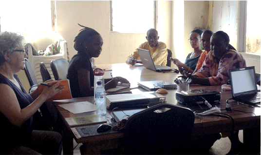 Inside the Dept. of Early Childhood Education in Monrovia, a meeting of the Curriculum Team